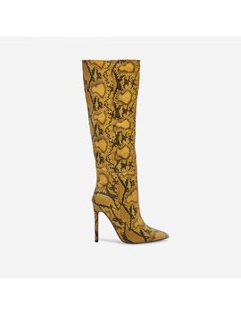 Rose Knee High Long Boot In Yellow Snake Print Faux Leather by Ego
