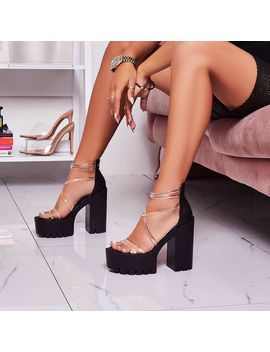 Shiloh Perspex Platform Block Heel In Black Faux Leather by Ego