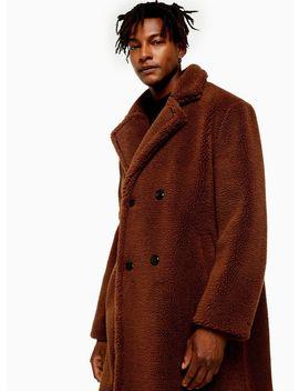 Rust Teddy Faux Fur Jacket by Topman