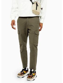 Khaki Uncuffed Cargo Trousers by Topman