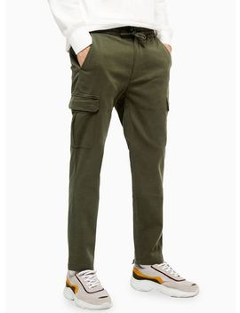 Khaki Cargo Trousers With Tencel by Topman