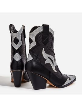 Mixer Rhinestone Snake Print Detail Western Ankle Boot In Black Faux Leather by Ego