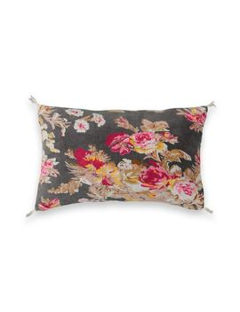 Golty Grey Floral Cotton Velour Cushion Cover by Am.Pm