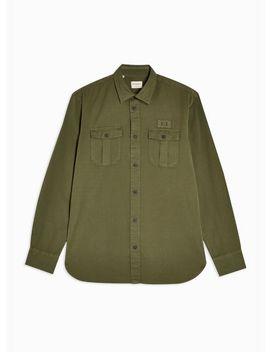 Selected Homme Khaki Organic Cotton Slim Shirt by Topman