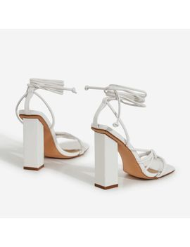 Neima Lace Up Square Toe Perspex Block Heel In White Faux Leather by Ego