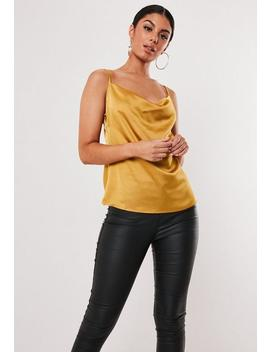 Mustard Satin Cowl Neck Cami Top by Missguided