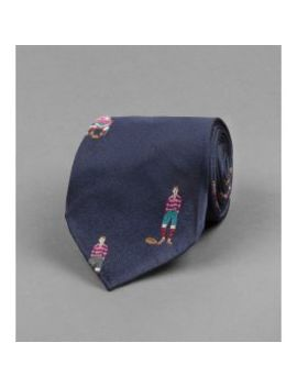 Navy Archival Rugby Player Motif Silk Tie by Drake's