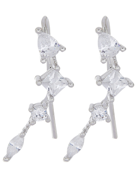 Platinum Sparkle Ear Climber Earrings by Accessorize