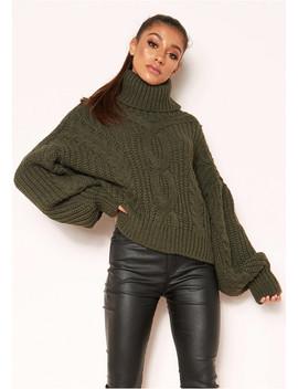 Hana Khaki Cable Knit Roll Neck Jumper by Missy Empire