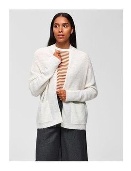 Snow White Knitted Cardigan Wool by Selected Femme