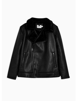 Black Shearling Biker Jacket by Topman
