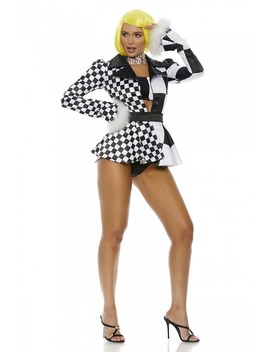 White Black Money Moves 4 Piece Costume by Ami Clubwear