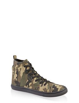 Camo Lace Up High Top Sneakers by Rainbow