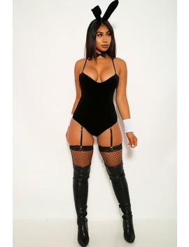 Black Velvet Play Bunny 4 Piece Costume by Ami Clubwear