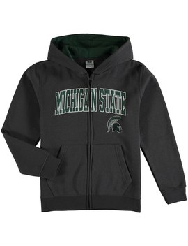 Michigan State Spartans Youth Charcoal Applique Arch & Logo Full Zip Hoodie by Fans Edge