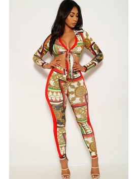 Red Gold Graphic Print Two Piece Outfit by Ami Clubwear