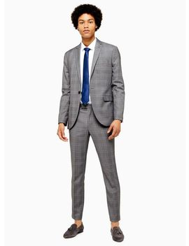 Grey And Blue Check Skinny Fit Suit Trousers by Topman