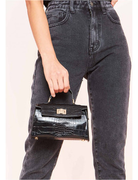 Reneta Black Croc Print Mini Bag by Missy Empire