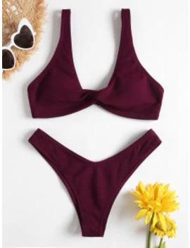 Popular Low Rise Textured Twist Bikini Set   Red Wine L by Zaful