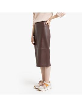 Leather Mid Length Pencil Skirt by La Redoute Collections