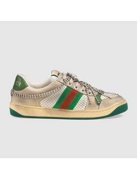 Women's Screener Sneaker With Crystals by Gucci