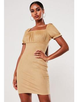 Mocha Faux Suede Milkmaid Bodycon Mini Dress by Missguided
