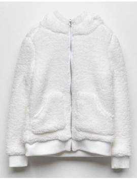 White Fawn Sherpa Cream Girls Zip Hoodie by White Fawn