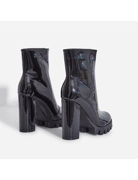 Mamba Zip Detail Cleated Sole Ankle Boot In Black Patent by Ego