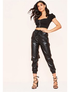 Chaya Black Pu Elasticated Cropped Trousers by Missy Empire