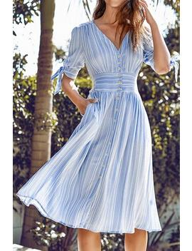 Blue And White Stripe Print Buttoned Midi Dress by Cupshe
