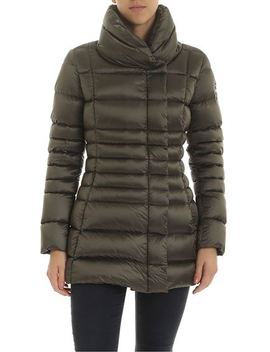 Long Crop Place Down Jacket In Army Green Color by Colmar