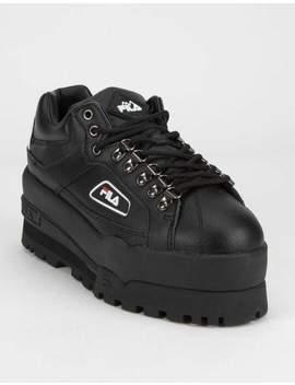 Fila Trailblazer Wedge Black Womens Platform Shoes by Fila