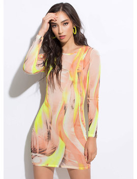Give It A Swirl Abstract Mesh Minidress by Go Jane