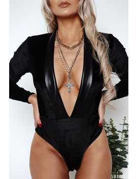 Hayley Tuxedo Collar Plunge Velvet Thong Bodysuit by Lasula