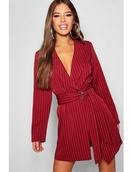 Petite Pinstripe Tie Side Blazer Dress Petite Pinstripe Tie Side Blazer Dress by Boohoo
