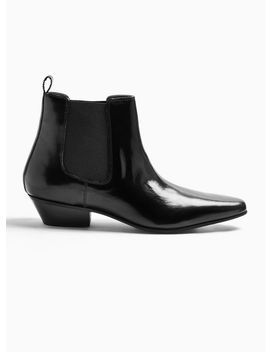 Black Leather Hendrix Chelsea Boots by Topman