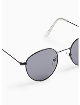 Black Metal Round Sunglasses by Topman