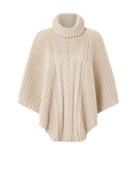 Chunky Cable Poncho by Accessorize