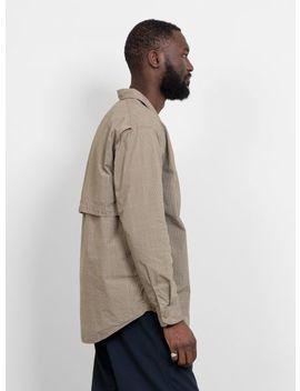 Open Collar Wind Shirt Beige by Nanamica