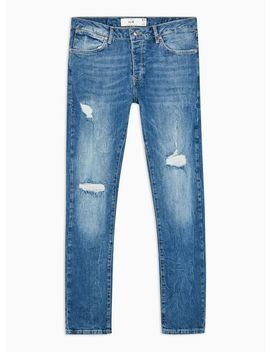 Mid Wash Stretch Slim Ripped Jeans by Topman