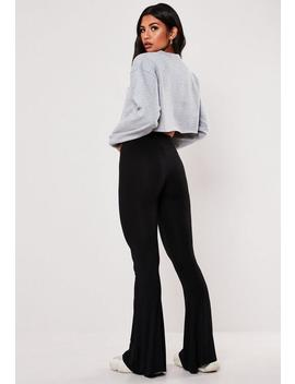 Black Jersey Flare Trousers by Missguided
