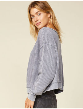 West Of Melrose Brush It Off The Shoulder Gray Womens Thermal by West Of Melrose