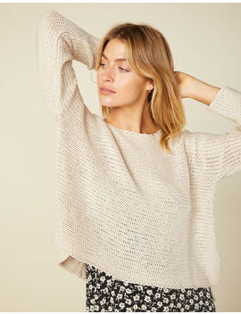 West Of Melrose Split Ends Oatmeal Womens Sweater by West Of Melrose