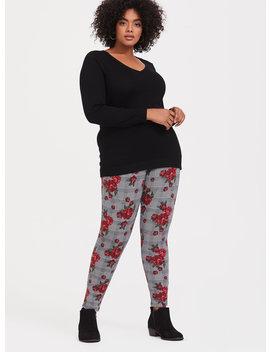 Black Plaid & Floral Legging by Torrid