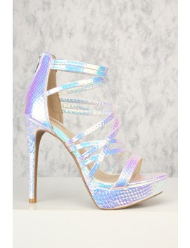 Sexy Silver Iridescent Strappy Open Toe Platform High Heels by Ami Clubwear