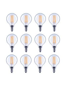 60 Watt Equivalent G16.5 Globe Dimmable Energy Star Clear Glass Filament Vintage Led Light Bulb Soft White (12 Pack) by Eco Smart
