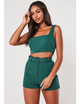 Teal Co Ord Super Scoop Crop Top by Missguided