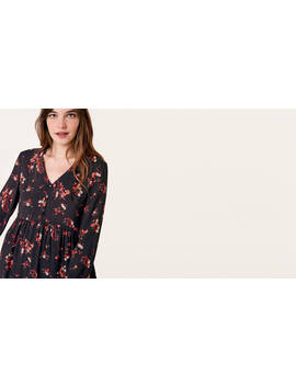 Black And Pink Floral Marcia Mini Dress Boom!You're With Us Now. by Nobody's Child