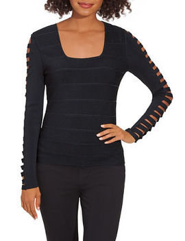 Square Neck Cutout Sleeve Sweater by Boston Proper
