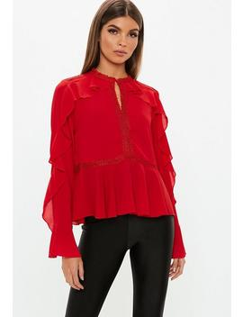 Red Ladder Lace Frill Sleeve Blouse by Missguided